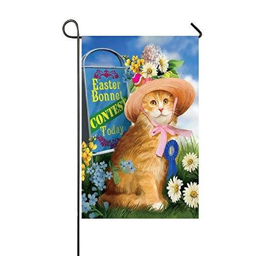 Rossne G sun Easter Bonnet Contest Today Funny Orange Cat Garden Flag House Flag Decoration Double Sided Flag 12.5