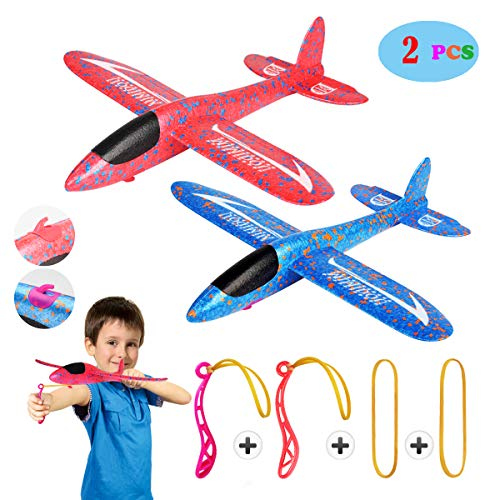 - MIMIDOU New Aerobatic Slingshot Plane 2 flight mode 2 pack glider airplane throwing foam aircraft outdoor sports flying toy for kids as gift,by