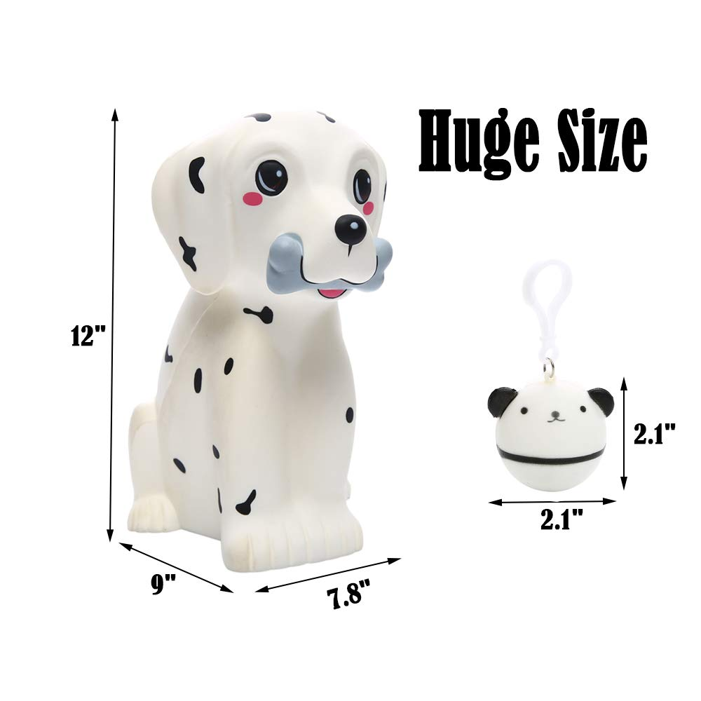 Sinofun 12 Inch Giant Dalmatian Dog Squishy, Large Puppy Animal Scented Squishies Package, Cute Panda Slow Rising Keychain, Soft Stress Relief Toys, Fun Party Favor/Birthday Gifts for Boys/Girls/Kids by Sinofun (Image #3)