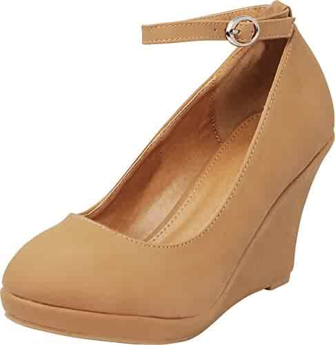 4d29a6709d Cambridge Select Women's Closed Round Toe Buckled Strap Ankle Platform Wedge