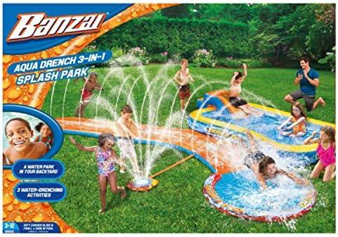 Sprinkler, Slide and Pool Banzai Inflatable Aqua Drench 3-in-1 Splash Park