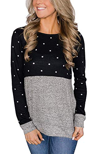 Womens Casual Banded Hem T Shirts Crew Neck Winter Tops with Polka Dot Sweaters Black S