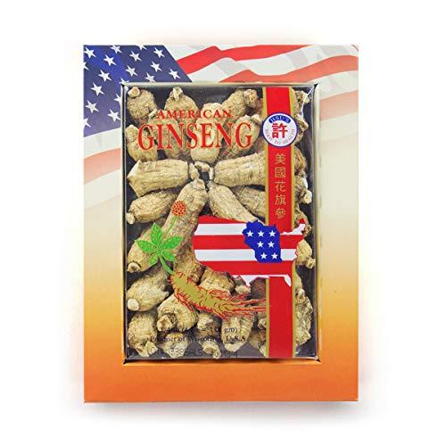 HSUs Ginseng SKU 113-4 | Short Medium Small | Cultivated American Ginseng from Marathon Co, Wisconsin USA w/One Free Single American Ginseng Tea Bag | 许氏花旗参 | 4oz Box, 西洋参, B0054ELDEY