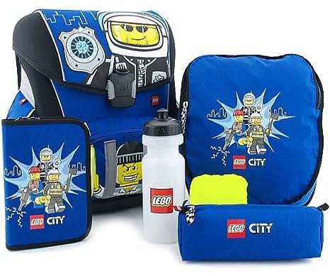 LEGO Supreme - Juego de mochila escolar y accesorios (5 piezas), diseño de policía City: Amazon.es: Juguetes y juegos
