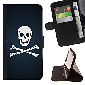 For Samsung Galaxy S4 Mini i9190 Skull & Bones Pirate Flag Beautiful Print Wallet Leather Case Cover With Credit Card Slots And Stand Function