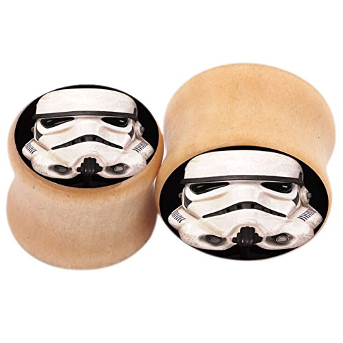 Logo Saddle Plug - A Pair of Wooden Saddle Plugs with Logo Front Body Piercing Jewelry (8mm 0g)