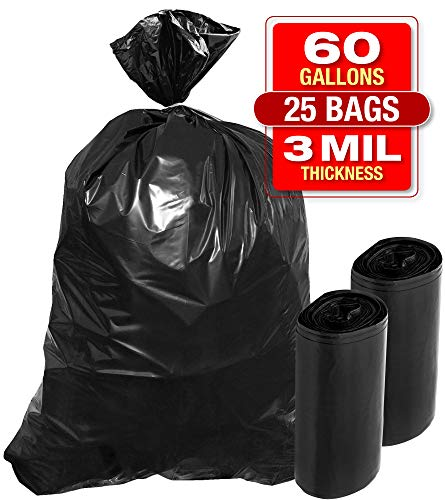 """3 Mil 60 Gallon Contractor Trash Bags - 25 PK 38""""Wx58""""H Heavy Duty Black Garbage and Storage Bags - Super Thick Industrial Grade Trash Bags for Construction, Yard Work, Commercial Use"""