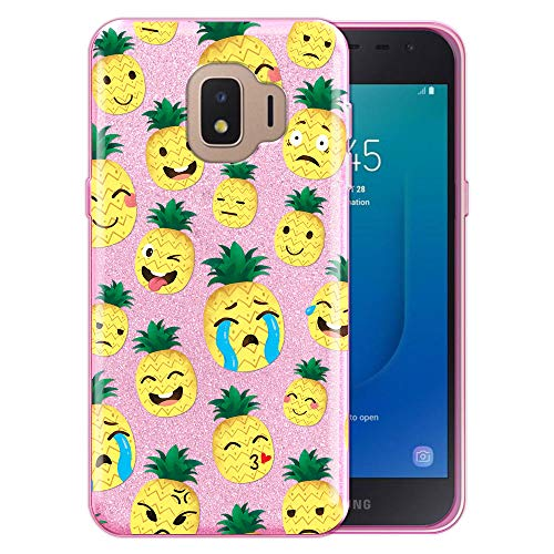 FINCIBO Case Compatible with Samsung Galaxy J2 Core J260 5 inch 2018, Shiny Sparkling Pink Bling Glitter TPU Protector Cover Case for Galaxy J2 Core - Emoji Pineapple Pattern