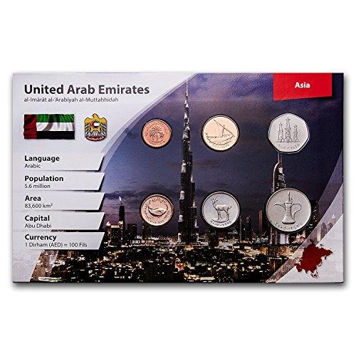 AE 1973 -2007 U.A.E. 1 Fils-1 Dirham Coin Set BU (Landscape Pkg) Brilliant Uncirculated