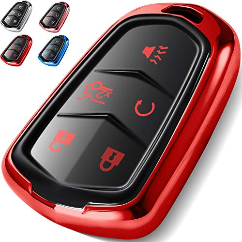 COMPONALL Key Fob Cover for Cadillac, Key Fob Case for 2015-2019 Cadillac Escalade CTS SRX XT5 ATS STS CT6 5-Buttons Premium Soft TPU 360 Degree Full Protection Red