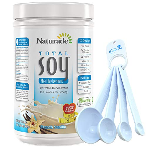 Naturade Total Soy Protein Meal Replacement French Vanilla – 1.1 lbs BUNDLE with a Lumintrail Set of 4 Measuring Spoons