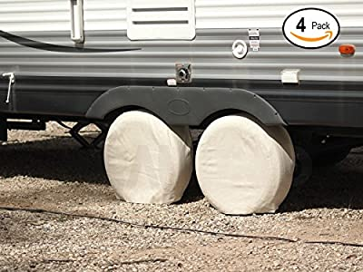 """RamPro 4 Canvas Wheel Covers Set, Heavy Duty 28"""" Diameter RV Tire Protector, 8.5"""" Wide   Use for Camper Travel Trailer Car Truck Auto to Protect from Sun Rays and Overspray - Fits 24 to 28 Inch"""