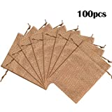 Lucky Monet 25/50/100PCS Burlap Gift Bags Wedding Hessian Jute Bags Linen Jewelry Pouches with Drawstring for Birthday, Party, Wedding Favors, Present, Art and DIY Craft (100Pcs, Coffee, 3' x 4')