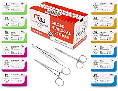 New Mixed Sterile Suture Threads with Needle + Training Accessories (Assorted 12 Pack with 3 Tools) for Suture Pads, Practice Suture Kit; Medical, Nursing, Dental, EMT, Medic and Veterinary Students