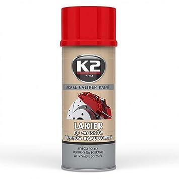K2 PRO Brake Caliper RED HIGH GLOSS Heat 260°C Resistant Paint Spray 400ml