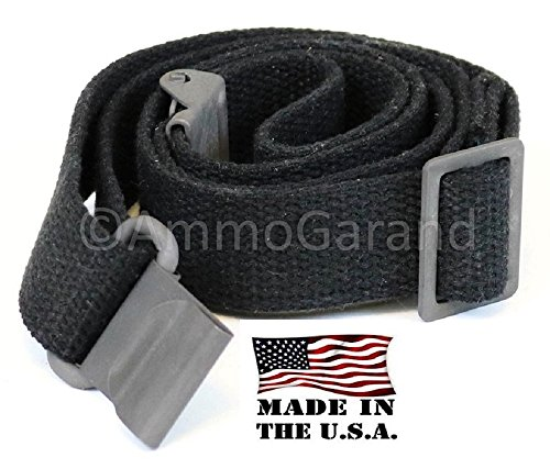 AmmoGarand M1 Garand Web Sling USGI Pattern Black Cotton Web Two Point Made in USA