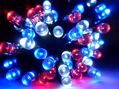 Solar Fairy String Lights 120LED Super Bright Patriotic Red White & Blue Decorative, Choice of Light Effect. Ideal for Trees, Gardens, Parties & More...