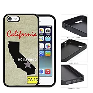 California State Flag with Cream Colored Grunge Background Hollywood Hard Rubber TPU Phone Case iPhone i5 5s