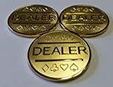 3X Gold Plated Metal Dealer Buttons for Poker Games