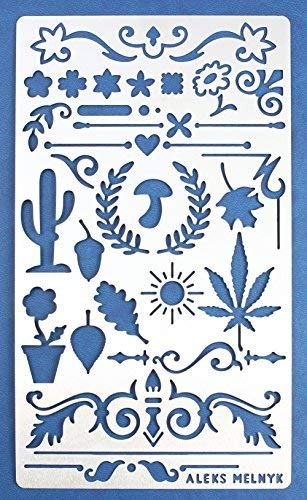 Aleks Melnyk #1 Metal Journal Stencil/Nature, Dividers, Ornament/Stainless Steel Stencil 1 PCS/Template Tool for Wood Burning, Pyrography and Engraving/Scrapbooking/Crafting/DIY ()