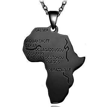 d9db27c71f2d GCCLCF Hip Hop Africano Collar Regalo Plata Oro Colgante y Cadena al por  Mayor Africa Mapa Hombre Mujer Moda joyería