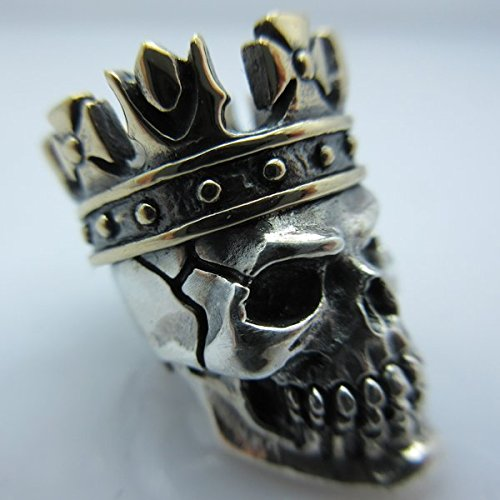 King (Sm) Lanyard Bead in .925 Sterling Silver & Bronze by GD Skulls by Jig Pro Shop