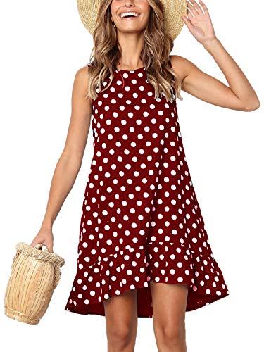 Lannychic Women's Sleeveless Tunic Dress Polka Dots Ruffle Loose Mini Dress Swing Shift Dresses - Burgundy -