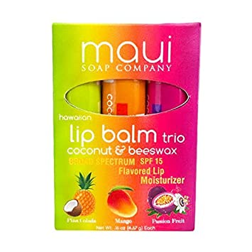 Hawaiian Lip Balm, 3 Pack, Pina Colada, Mango Passion Fruit, Soothing and Natural with Spf 15