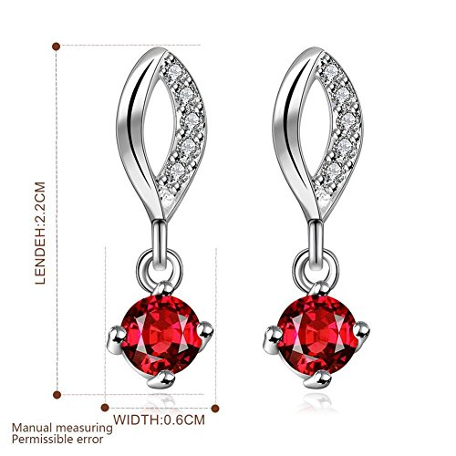 Fashion Earrings Drop Earring Red Cubic Zirconia Earrings Silver Earrings