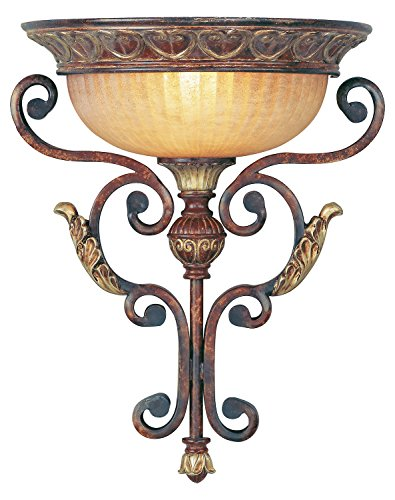 - Verona Bronze 1 Light 100W Wallchiere Wall Sconce with Medium Bulb Base and Rustic Art Glass from Villa Verona Series