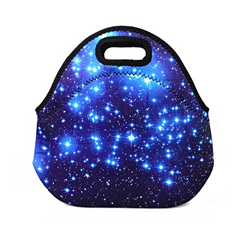 Blue Shining Stars Lunch Bag, SYZ Soft Neoprene Waterproof Tote Bag Container for Boys Girls Kids Lunchbox Case, Fits for School Travel Outdoor Thermal