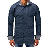 Men Tops Blouses Clearance WEUIE Men Striped Denim Long-Sleeve Beefy Button Basic Solid Blouse Tee Shirt Top (L,Dark Blue)