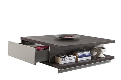 Tavolino Da Salotto Rovere Grigio.Composad Tavolino Salotto Con Due Cassetti Color Rovere Nobile E Grigio Laccato
