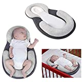 XYTMY Portable U Shape Baby Bed Mattress Baby Sleep Memory Pillow for Newborn, Infant Flat Neck Head Syndrome Prevention Anti-Roll Crib Mattress for Travel (Grey)