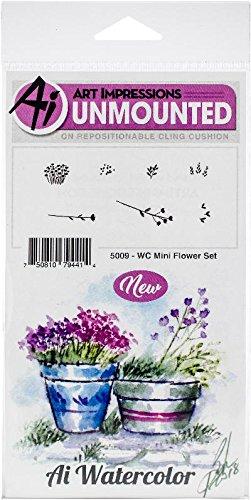 Art Impressions 5009 Watercolor Cling Mini Flower Set Rubber Stamps, Multicolor
