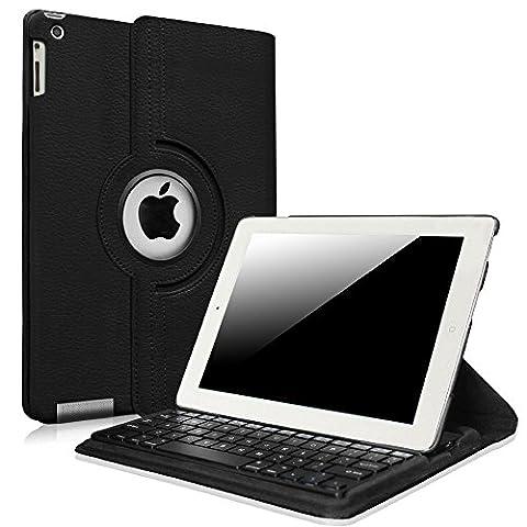 Fintie iPad 2/3/4 Keyboard Case - 360 Degree Rotating Stand Cover with Built-in Wireless Bluetooth Keyboard for Apple iPad 2, iPad 3 & iPad with Retina Display, (Original Ipad 4 Case)