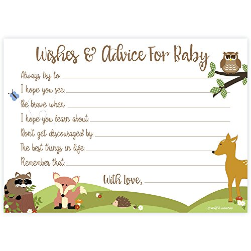 Woodland Baby Shower Wishes and Advice for Baby Cards (50 Count) -