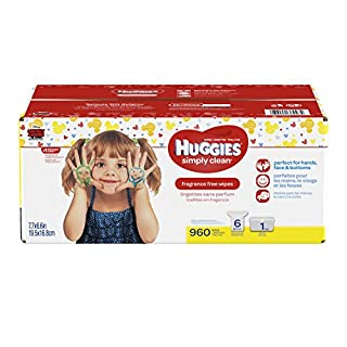 HUGGIES SIMPLY CLEAN Fragrance-Free Baby Wipes, Hypoallergenic (1 Tub, 6X Refill Packs, 960 Count) (B00EVIS30Q) | Amazon price tracker / tracking, Amazon price history charts, Amazon price watches, Amazon price drop alerts