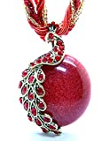 Fashion Women's Bohemia Vintage National Style Cat's Eye Stone Peacock Chain Necklace Pendant