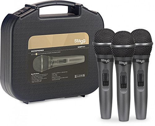 (Stagg SDMP15-3 Cardioid Dynamic Microphone Set fo 3 for Live Performance)