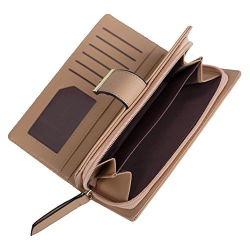 Mujer Carteras Cuero PU Leather tarjeta Carteras y monederos Piel Bolso Billetera Card Holders de gran capacidad cuero de la cartera Solido Simple Cremallera Multi Card Organizador mano y clutches Abricot