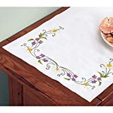Herrschners Daisies & Violets Dresser Scarf Stamped Embroidery offers