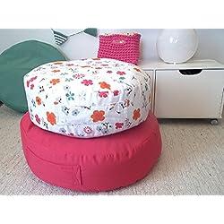 Floral Floor Pillow- Kids Furniture-Canvas Pouf Ottoman-Round Floor Pillow-Teepee Cushion