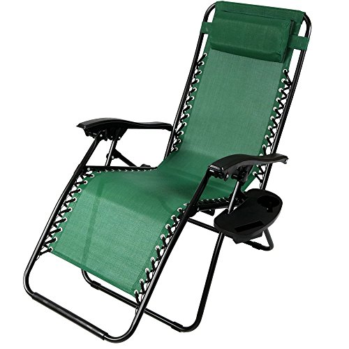 Green Outdoor Chairs Folding - Sunnydaze Outdoor Zero Gravity Lounge Chair with Pillow and Cup Holder, Folding Patio Lawn Recliner, Forest Green