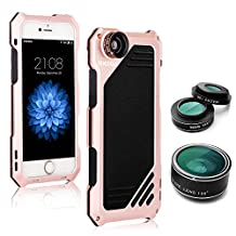 OXOQO IPhone 6 Plus /6s Plus Lens Kit, 3 in 1 Fisheye + Macro + Wide Angle Camera Lens with IP54 Dustproof Shockproof Aluminum Case, 5.5 Inches (Rose)