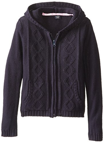 U.S. Polo Assn. Little Girls' Sweater (More Styles Available), Navy-HEAD, - Hooded Cardigan Girls