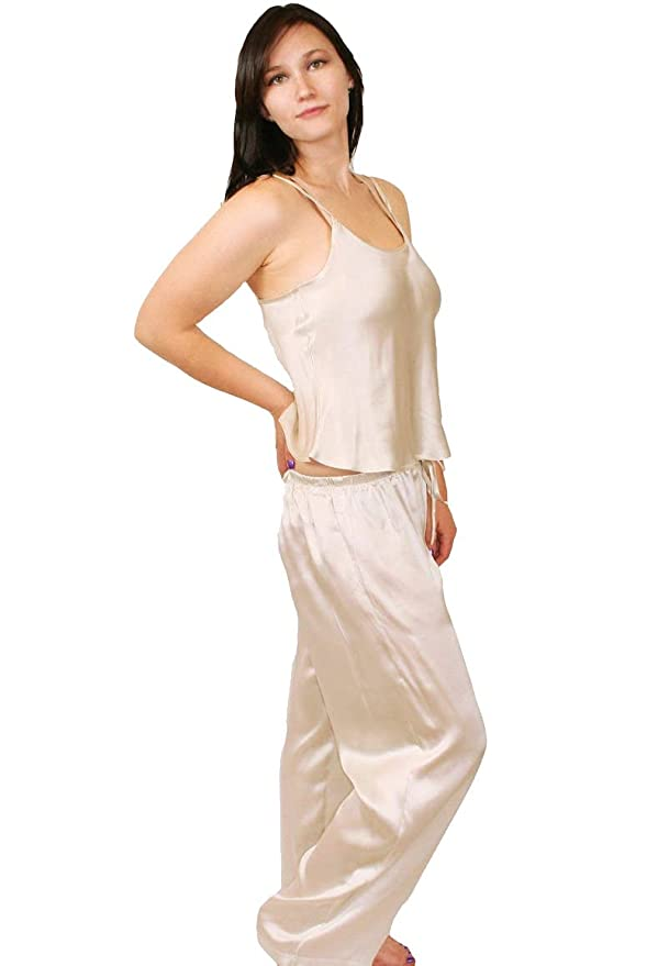 6244809fb0 Nyteez Women s Pure Silk Womens Pajama Lounge Set at Amazon Women s  Clothing store