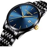CLOOKER Men's Watches Sports Military Luxury Fashion Ultra Thin Quartz Wristwatches Waterproof Stainless Steel Watch
