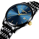 Men's Fashion Black Ultra Thin Watch Minimalist Fashion Luxury Wrist Watches for Men Business Dress Casual Waterproof Quartz Watch for Man Band Watch