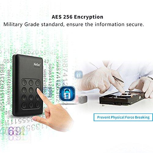 Encrypted Portable External Hard Drive - Netac K390 1TB USB 3.0 Keypad Lock 256-bit AES Physical Hardware Encryption Secure HDD Disk by Netac (Image #3)